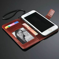 2015 hot selling flip wallet leather case for iphone 6s plus
