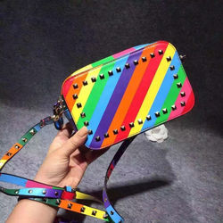 latest design fashion brand handbag rainbow color bag