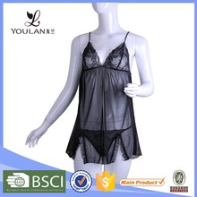 Best Design Luxurious Mature Matching Panty Transparent Sexy Night Dress For Woman