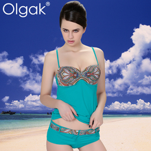Olgak 2016 nueva moda de baño tipo de impresión mujeres dividir la falda del traje de baño