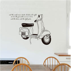 Removable Wall Stickers Black and White Motorcycle Mural Decal DIY home decoration Living Room JM7161