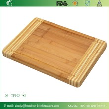 BH103Two Tones Fashion Kitchen Square Bamboo Cutting Board with 2 cm