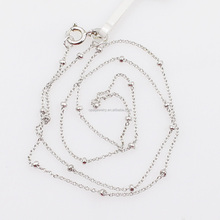 Unique O Shaped 16'' Plain Solid 925 Silver Bead Necklace For Girl