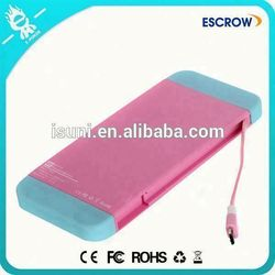 OEM factory wholesale in-cable OEM service mobile phone power bank 5000 for outdoor using