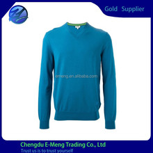 wholesale 100 percent cotton v-neck plain sweatshirt in blue color