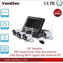 Vandsec 2015 Top10 New 1080P 4CH Wifi NVR Kit with 10 inch Monitor Home Security CCTV IP Wireless Camera Systerm