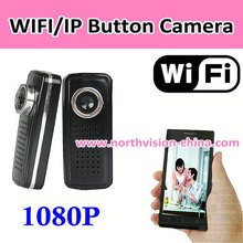 h.264 1080p full hd button wifi p2p ip camera support P2P/IP/Iphone/android, video recording, motion detection