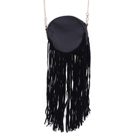 2015 FASHIONABLE LADIES CHAIN STRAP CROSS BODY SUEDE TASSEL PU BAG