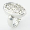 requintado ajoure aberto de prata oval anel de flor