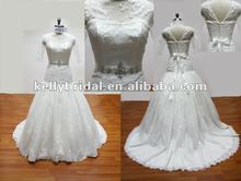 2012 newest designs short sleeves lace wedding dress