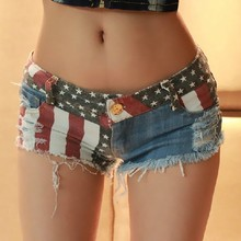 2015 Summer Hot Sale American Pattern Printing Ripped Tight Short Women Jeans JW-013