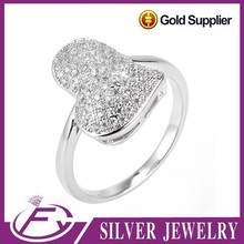 White cz stone pave setting 925 sterling silver true love waits ring