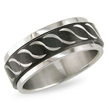 Steel and Black Lined Dotted Cross Engravable Message Band ring