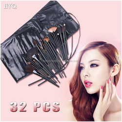 High Quality 32pcs Professional Cosmetic Facial Make up Brush Kit With Black Leather Bag
