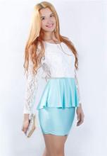 Elegant Peplum Dress laest fashion ladies lace dress
