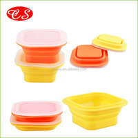 Hot selling products collapsible lunch box silicone container FDA & LFGB standard outdoor use lunch box food container