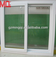 White color of sliding upvc glass window with luxurious crescent moon lock