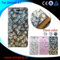 Wholesale New 3D Printed Rose Wallet Flip Leather Case Cover for Iphone 6 4.7 inch