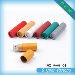 Colorful cylinder shape recycled paper usb flash drive