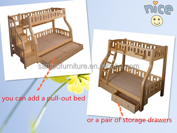 kids solid wood bunk bed/children wooden bunk bed