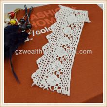 Moda 100% soluble de algodón cordón trim utilizado para prendas de vestir/decorativo del bordado de encaje para el vestido