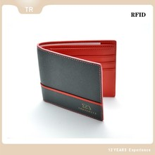 2015 Hot sale RFID saffiano genuine leather wallet high class clutch contrast color business men wallets