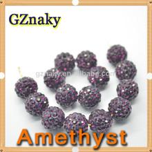 amatista 10mm cristales de diamante de imitación allanar arcilla bola de discoteca cuentas 2014 baratos suelta perlas de