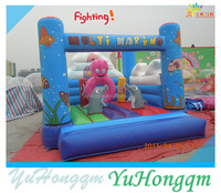 Customize Sea World Air Bouncer Inflatable Trampoline With Small Obstacles For Kids Playground