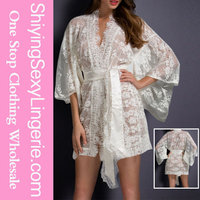 Hot Sale Wholesale White Belted Lace Kimono Nightwear Sexy Hot Fashion Show Lingerie