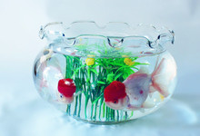 11.8 Inch ivy glass fish bowl, Glass vase for centerpiece,tealight candle holder