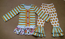 2015 lovely fall clothing sets toddler girls boutique stripe long sleeve outfit
