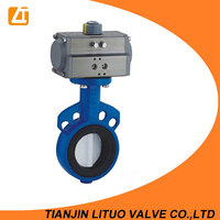 pneumatic wafer(lug) soft seal PTFE lined viton seat butterfly valve