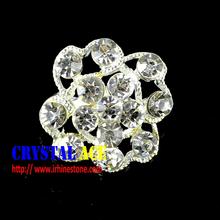Wholesale silver flower crystal beads jewel rhinestone brooch pin