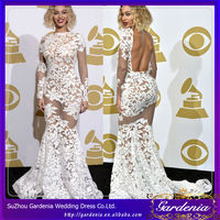 Hot 2014 Sexy Mermaid Open Back Long Sleeve See-Through White Bodycon Lace Celebrity Dress