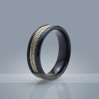 Black Plating Twisted Inlay Stainless Steel Ring Titanium Ring Wedding Rings Engagement Band For Women & Men