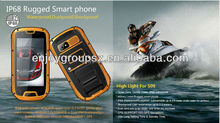 4.3 inch ip68 big screen 1.2GHZ quad core android 4.2.2 china wholesale waterproof rugged phone