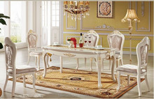 #688 elegant glossy white gold leaf solid wood 1.6m 6 chairs dining table neoclassic dining room furniture set buffet cabinet