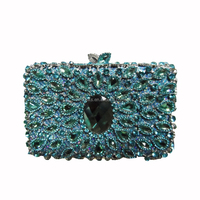 Stylish peacock feather pattern delicacy shining fancy pearl caged clutch