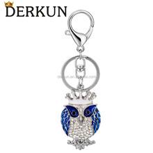 2015 fashion gifts&crafts wholesale custom keychain silver rhinestone blue owl keychain for women
