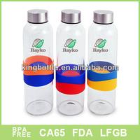 Borosilicate Glass bottle,silicone band drinking bottle, Sports bottle