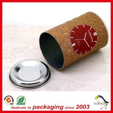Fashion colorful paperboard containers with metal lids tube food storage box