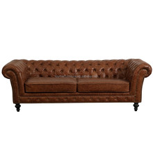 Luxury tufted rolled arm top grain brown leather sofa furniture