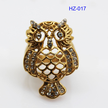 New Style Stainless Steel Gold Plated Owl Women's Ring(HZ-017)