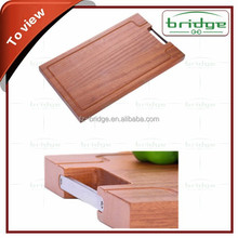 Square bamboo chopping board with stainless steel drawer