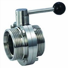SS304 Sanitary Stainless Steel Manual Sanitary Thread Butterfly Valves with Pull Handle
