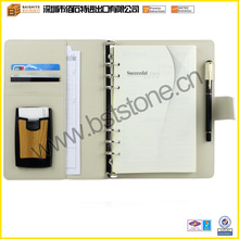 Many Functions Genuine Leather Jotter Notebook/Memo Pad Design With Six Rings Loose-leaf Binder Pen Holder And Card Case
