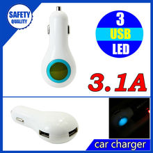 New style colorful 12/24v 3 port usb car charger adapter with 3amp