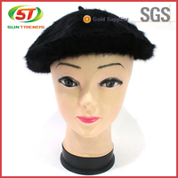 Hot Sale Custom Ladies Black Fake Animal Fur Leopard-Print Beret