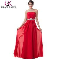 2015 Grace Karin Sexy Women Chiffon Red Long Evening Dress Without Sleeves CL6229