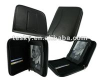 Black color leather zipper case cover for nook simple touch reader